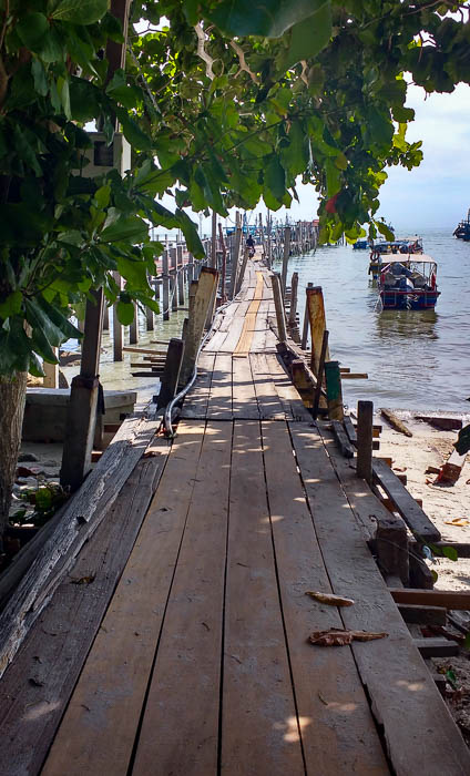 Pier at the entrance of Penang National Park Malaysia