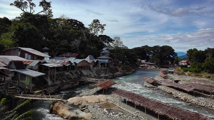Village by the river of Bukit Lawang in Sumatra jungle