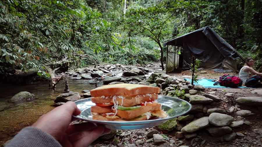 Breakfast sandwich in the jungle of Bukit Lawang in Sumatra