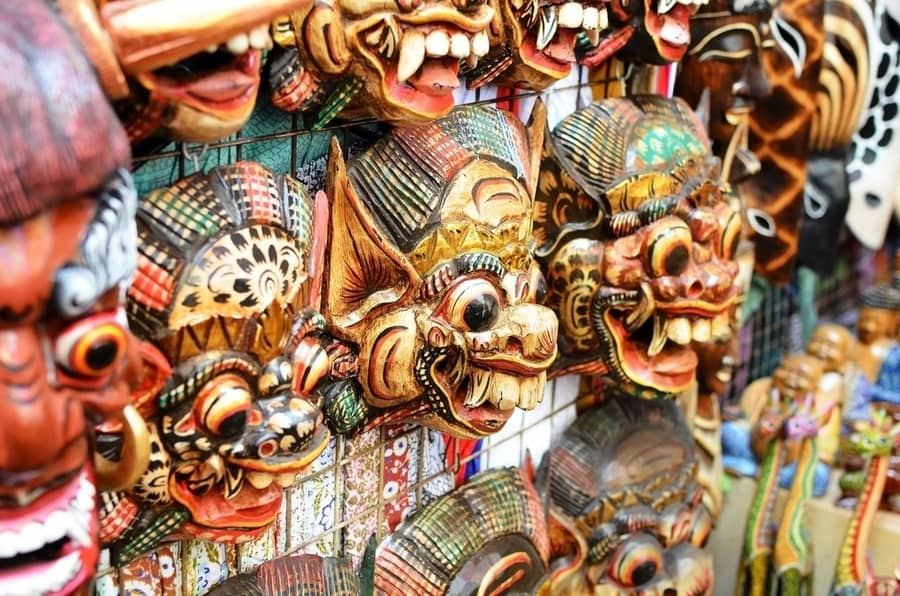 Balinese masks in the ubud market