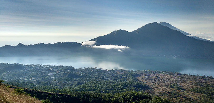 batur lake from volcano in the morning hike