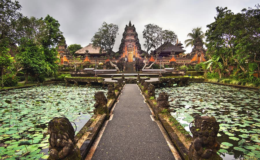 Pura Taman Saraswati Temple ubud bali Indonesia loto flowers