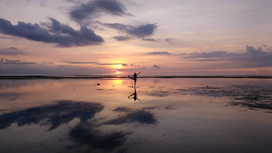 yoga in the paradise of gili island sunset