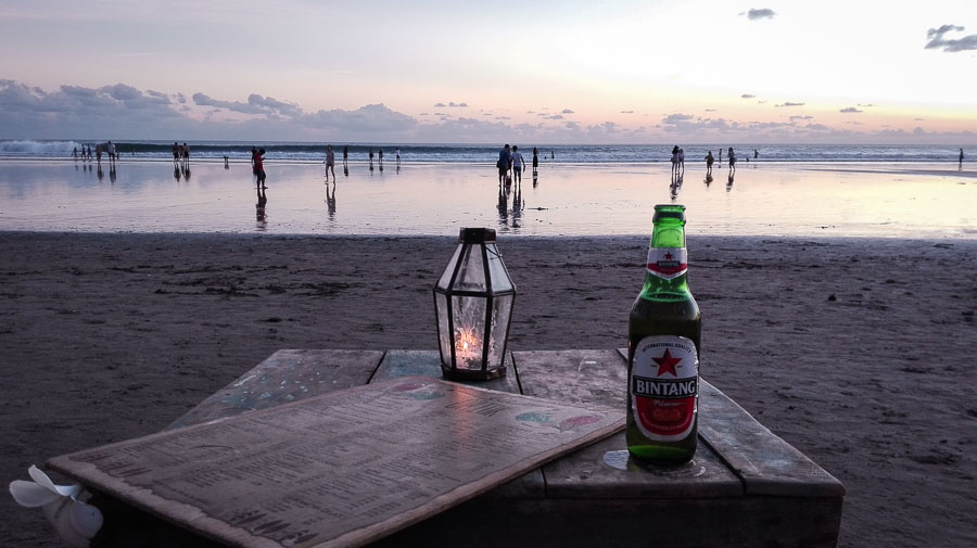 Things to do in Bali in 7 days. Bintang beer on table in terrace of La Plancha in Seminyak in Bali