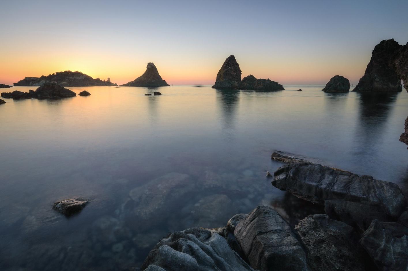 Sunrise on the Riviera dei Ciclopi in Aci Trezza Sicily