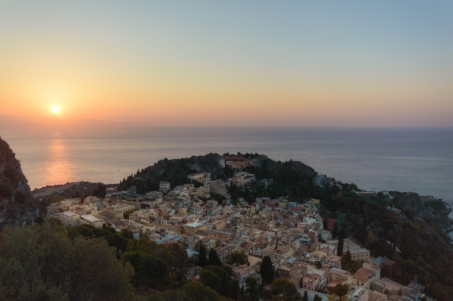 Taormina seen from Sanctuary Madonna della Rocca in Sicily Italy