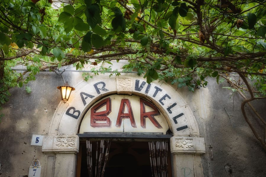 Sign of Bar Vitelli in Savoca scene of Godfather Sicily Italy