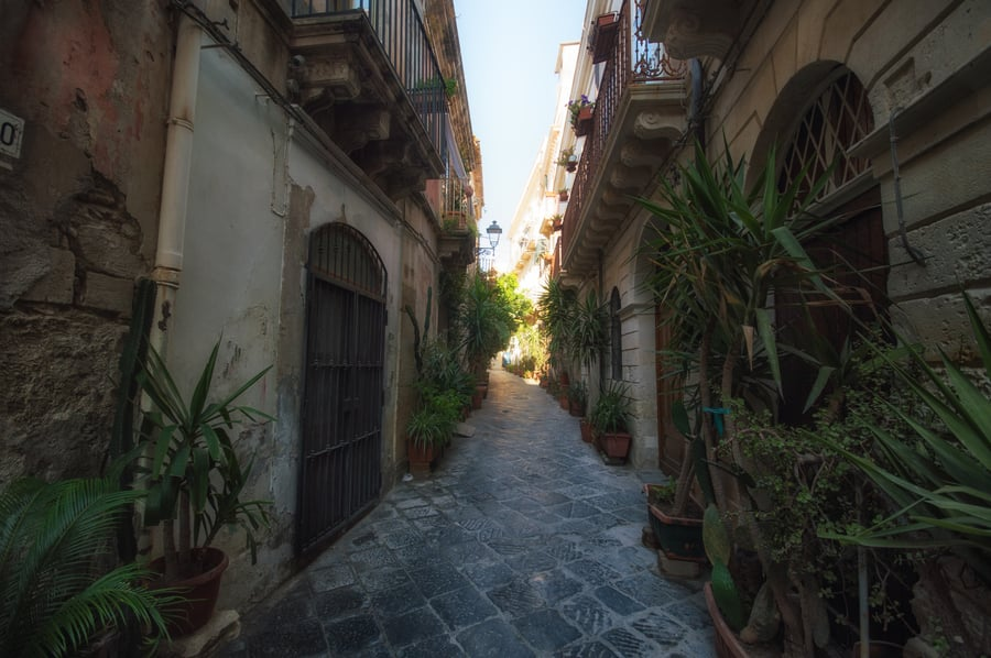 Alleys with charm of Ortigia Syracuse italy map Sicily Italy