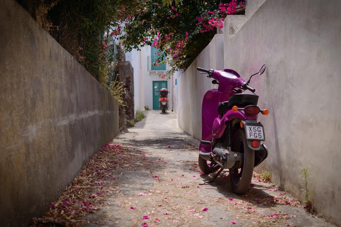 Street in Stromboli Sicily Italy.