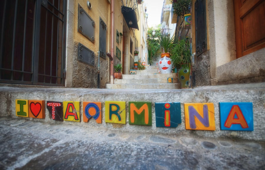 Decoration in the streets of Taormina in one day Sicily Italy