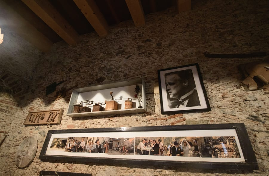 Images of the Godfather at Bar Vitelli in Savoca Sicily Italy