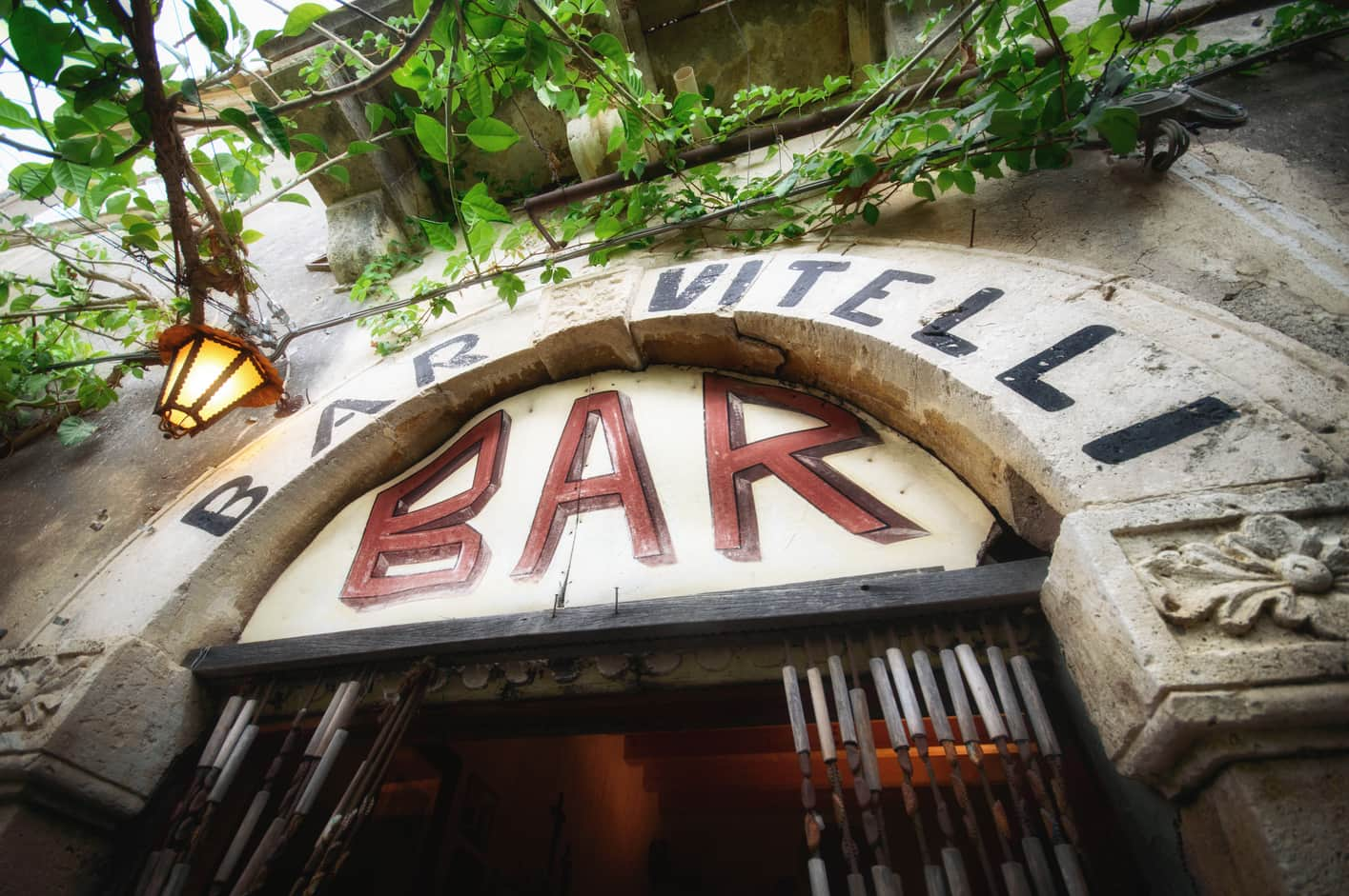 Entrance to the Bar Vitelli in Savoca in Sicily Italy