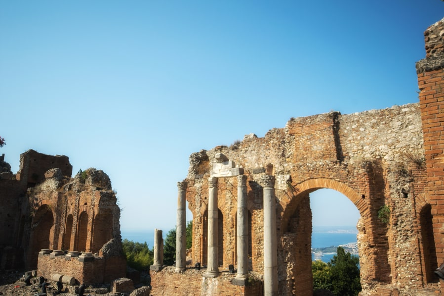 Stage of the Antic Theater of Taormina Sicily Italy