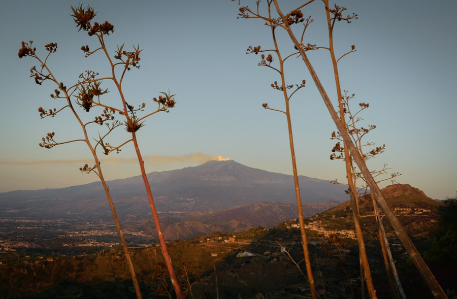 Etna volcano seen from Sanctuary Madonna della Rocca at sunrise in Taormina Sicily Italy