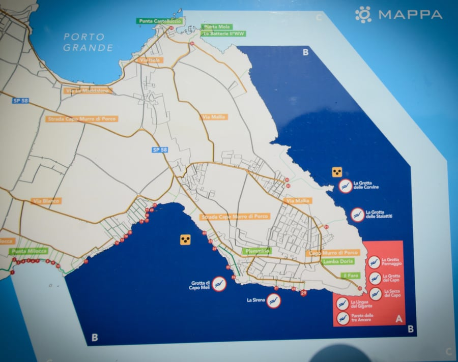 Map of the protected marine area of Plemmirio in Syracuse Sicily Italy