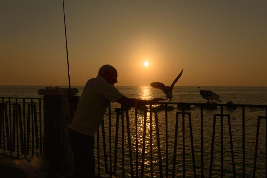Fishermen at sunrise in Ortigia Syracuse Sicily Italy