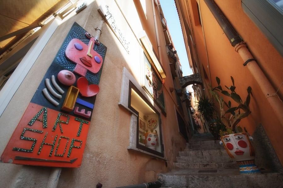 Streets of Taormina in Sicily Italy
