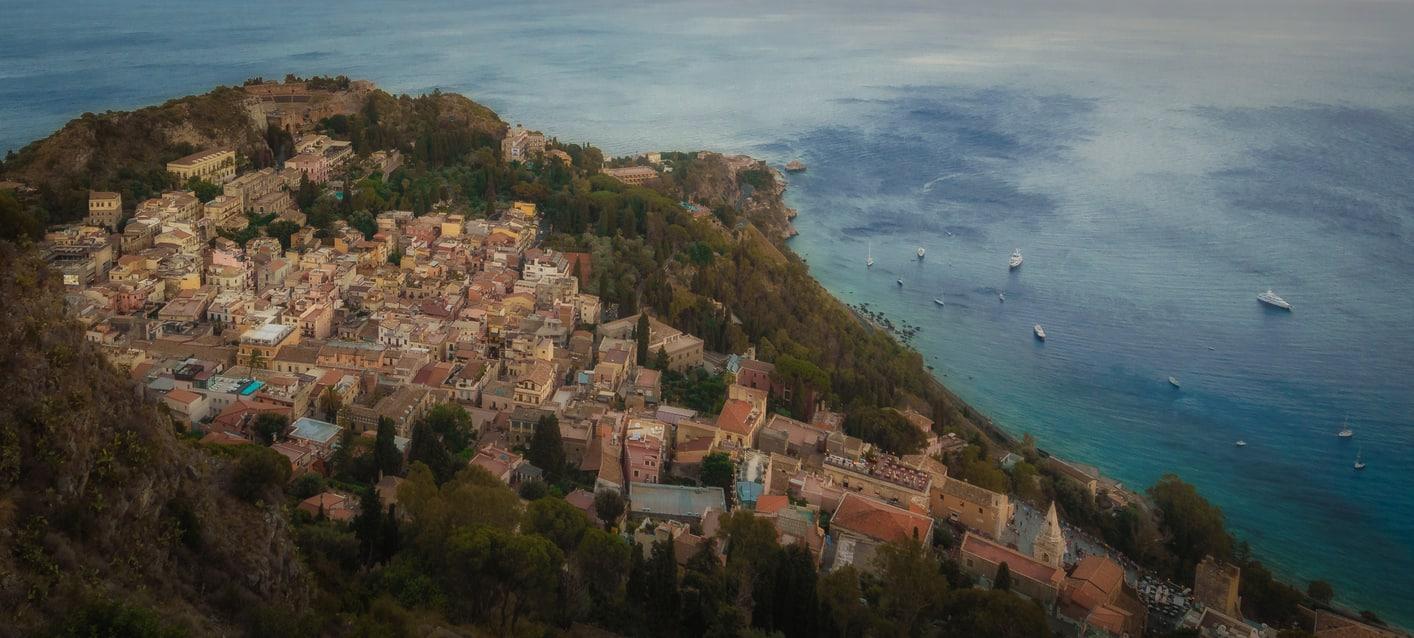 Taormina seen from Sanctuary Madonna della Rocca Sicily Italy