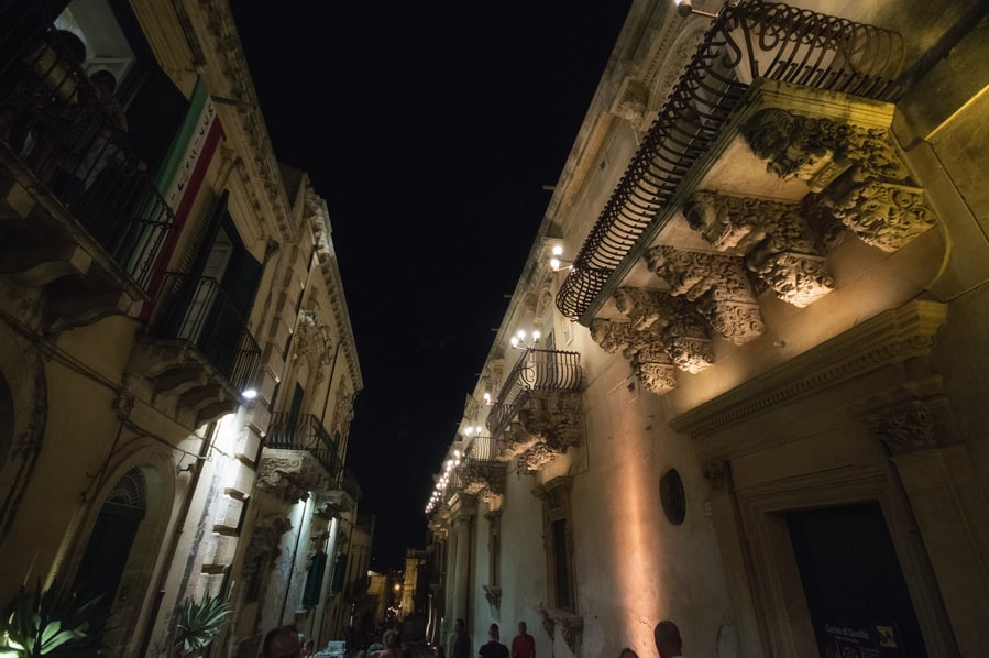 Noto facades Baroque night Sicily Italy