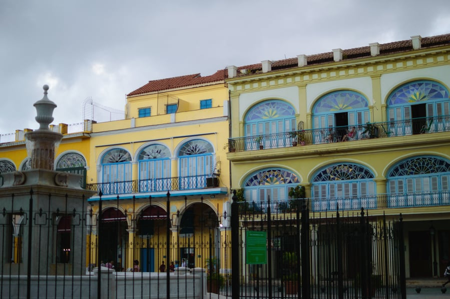 Art Nouveau buildings in Plaza Vieja havana Cuba. Top things to do in Havana.