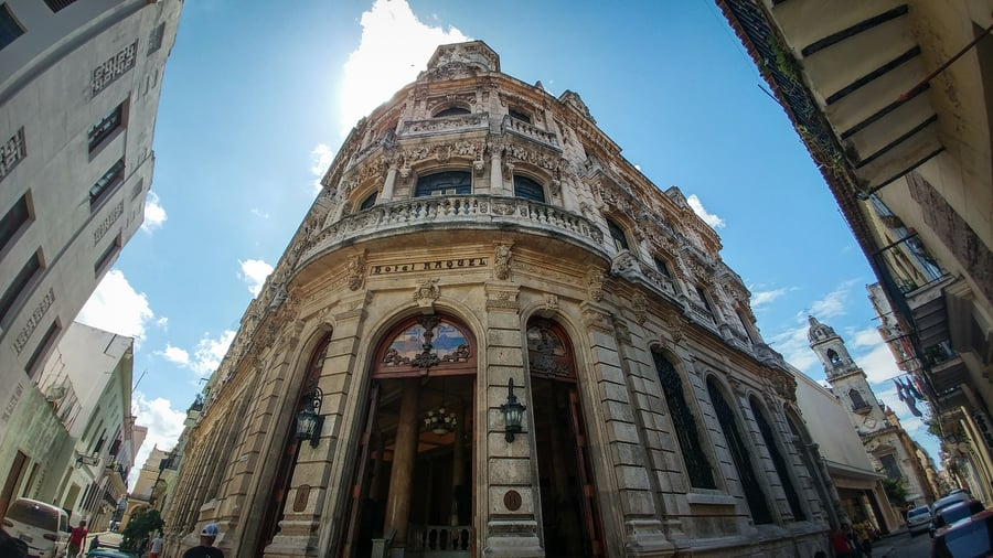 Facade of Hotel Raquel in Art Nouveau Havana Cuba. Guide to top things to do in Havana