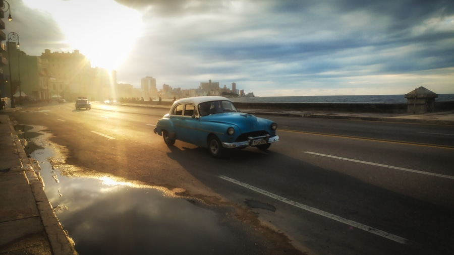 The malecon of the Havana car sunset Cuba. Things to do in Havana