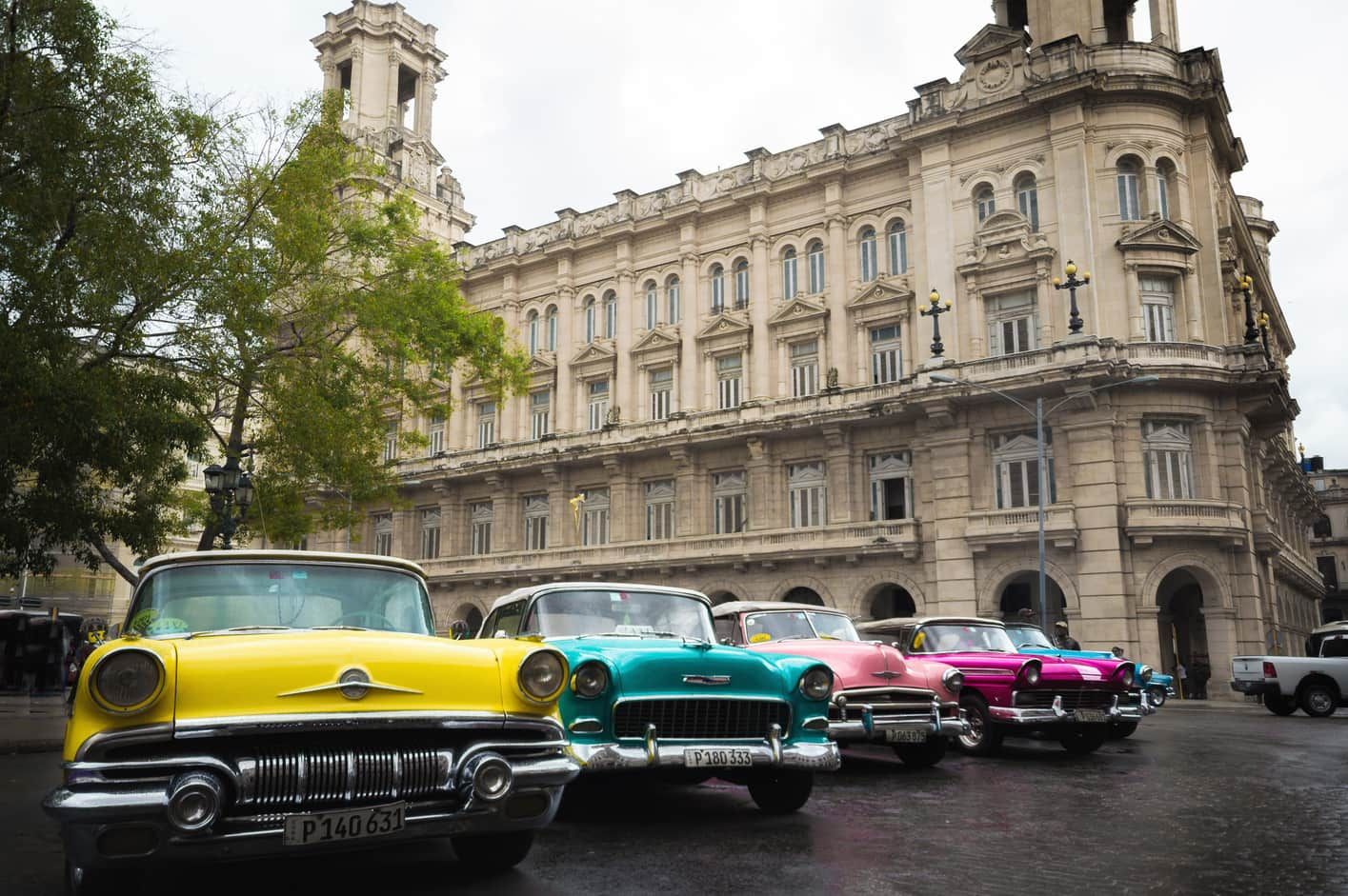 Old colored cars Havana Cuba. Things to do in Havana