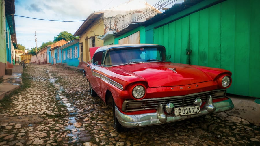 car in old town trinidad Cuba