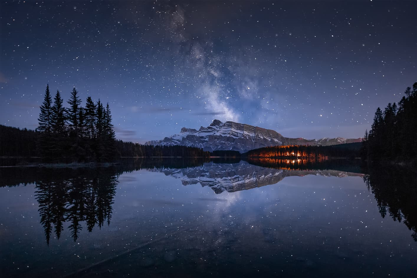 Milky way two jack lake banff canada alberta mirror pines sky photography night banff things you cannot miss at the canadian rockies