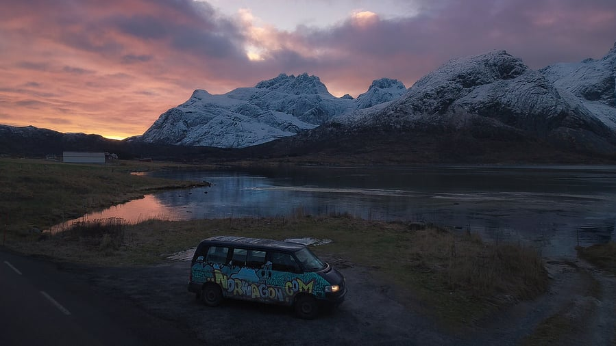 travel budget to lofoten islands in camper van roadtrip in caravan