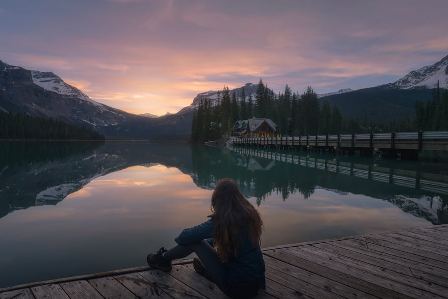 best sunset in emerald lake canada
