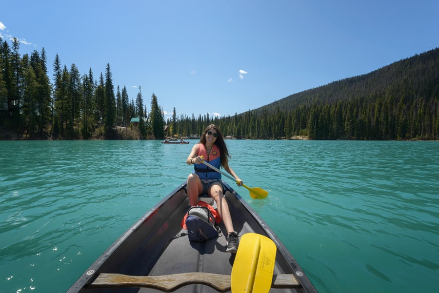 kayak in emerald lake yoho canada