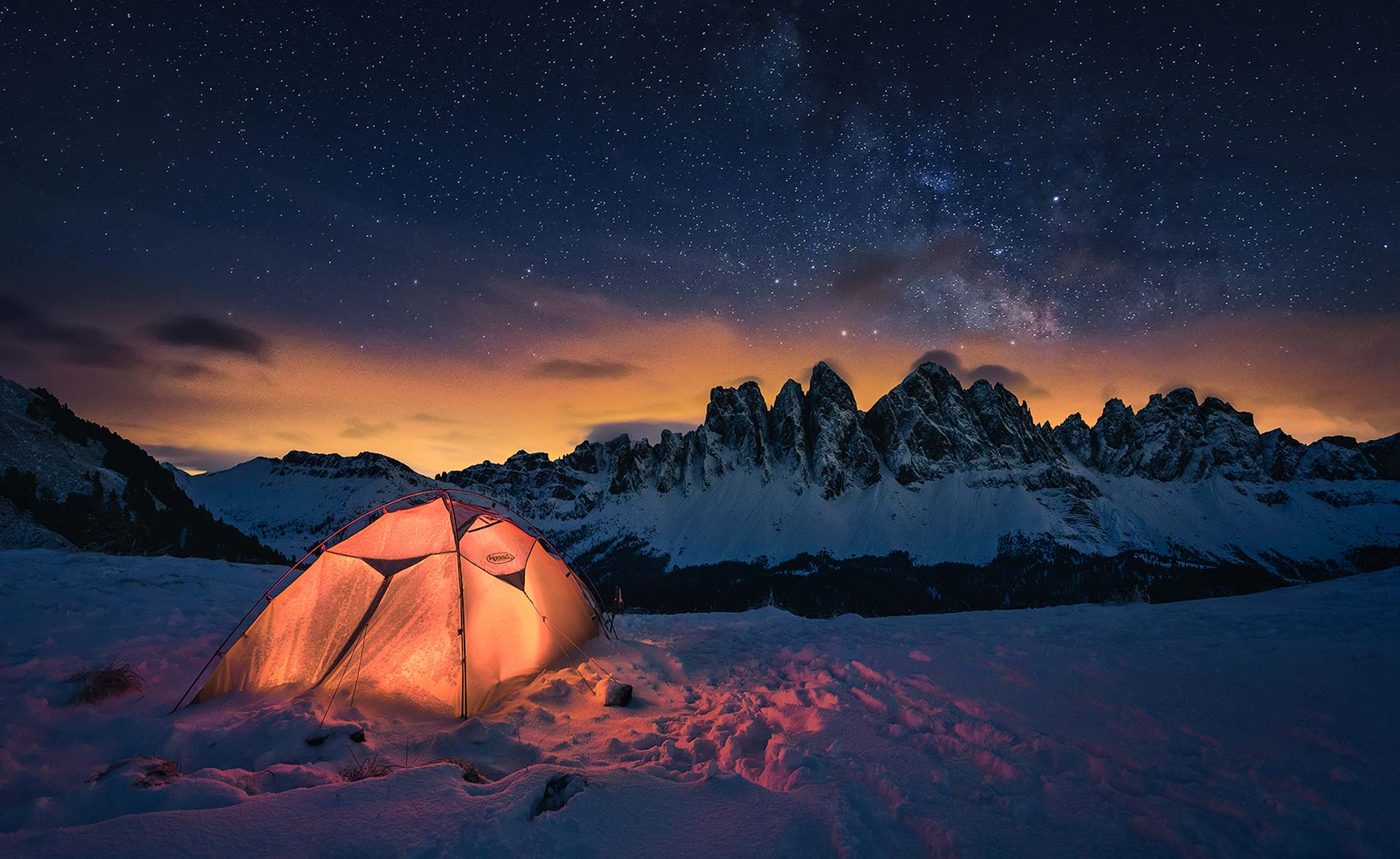 Milky Way Dolomites night tent stars mountain