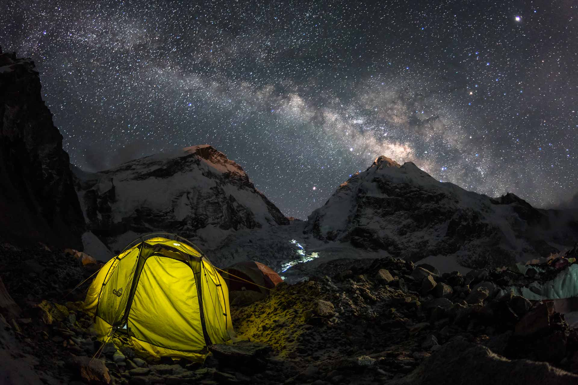 Everest base camp Milky Way khumbu icefall Lhotse night