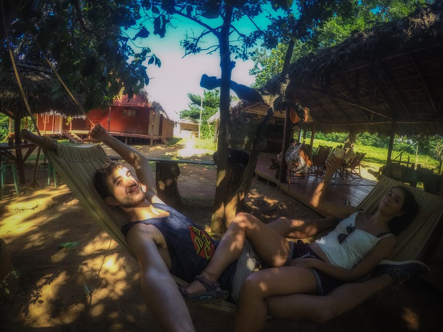 hammocks in finca raul reyes viñales cuba summer holiday