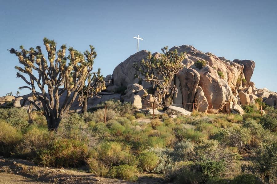 Mojave Cross sunrise rock camping