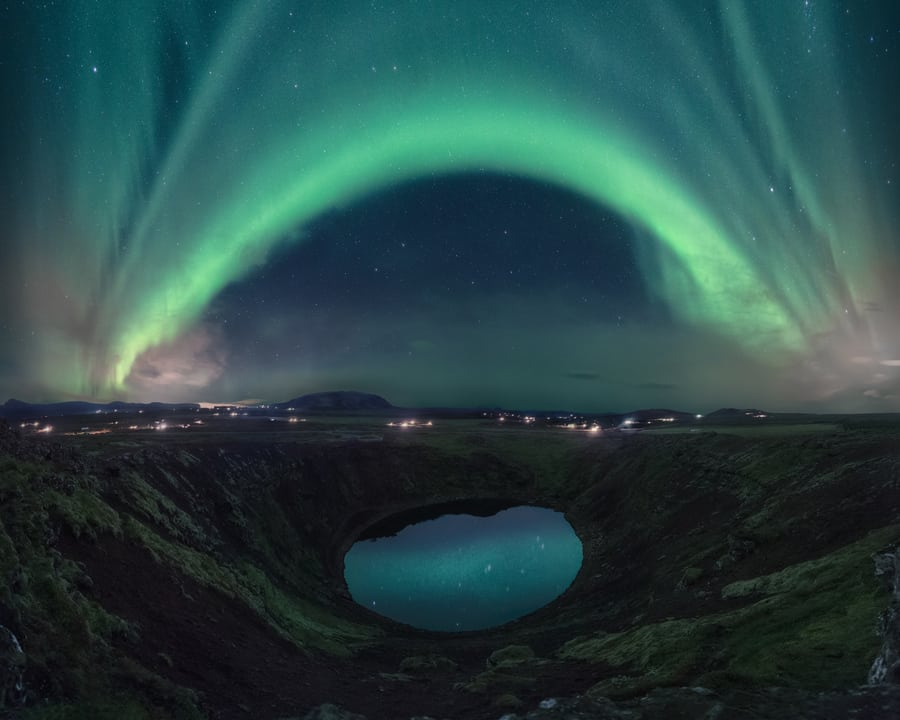 kerid crater iceland northern lights tour photography