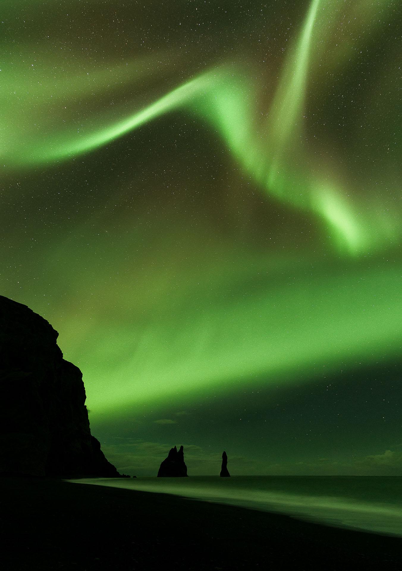 Northern Lights Vik Iceland Reynisfjara Aurora Borealis