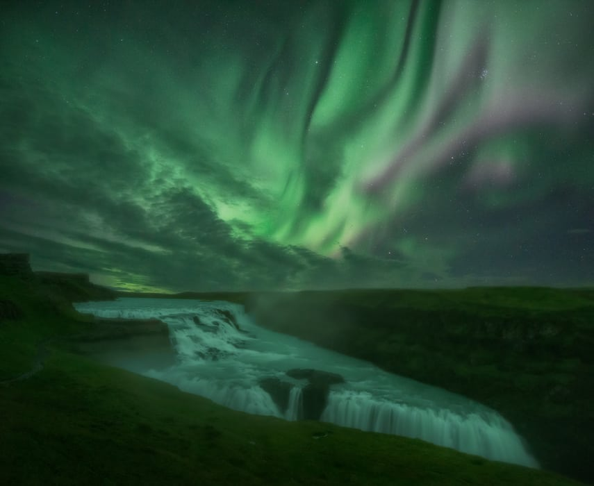 Gulfoss waterfall best place to see northern lights in Iceland