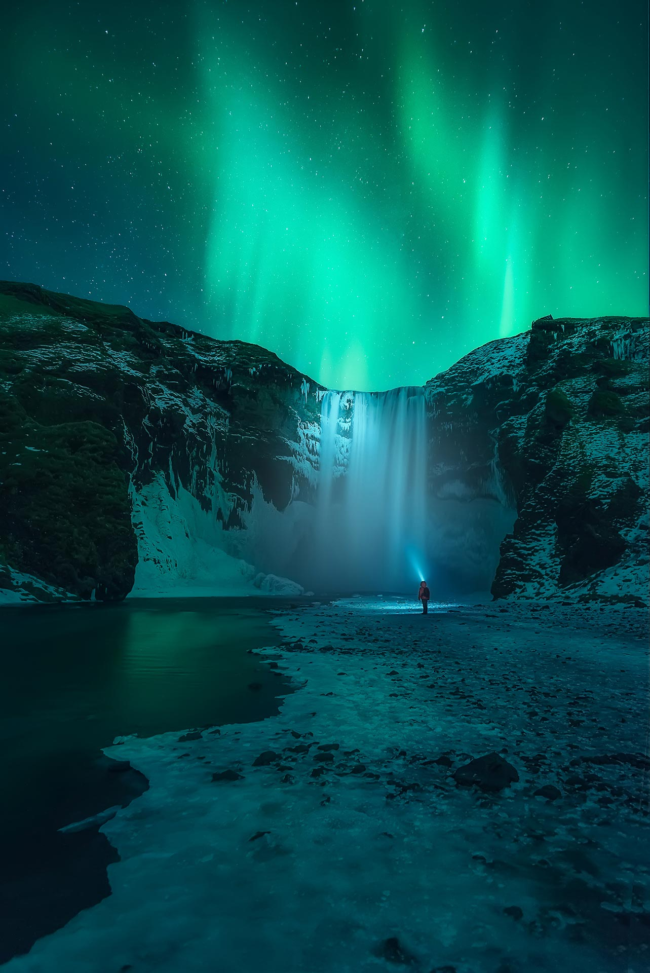 Northern Lights Iceland Skogafoss Aurora Waterfall