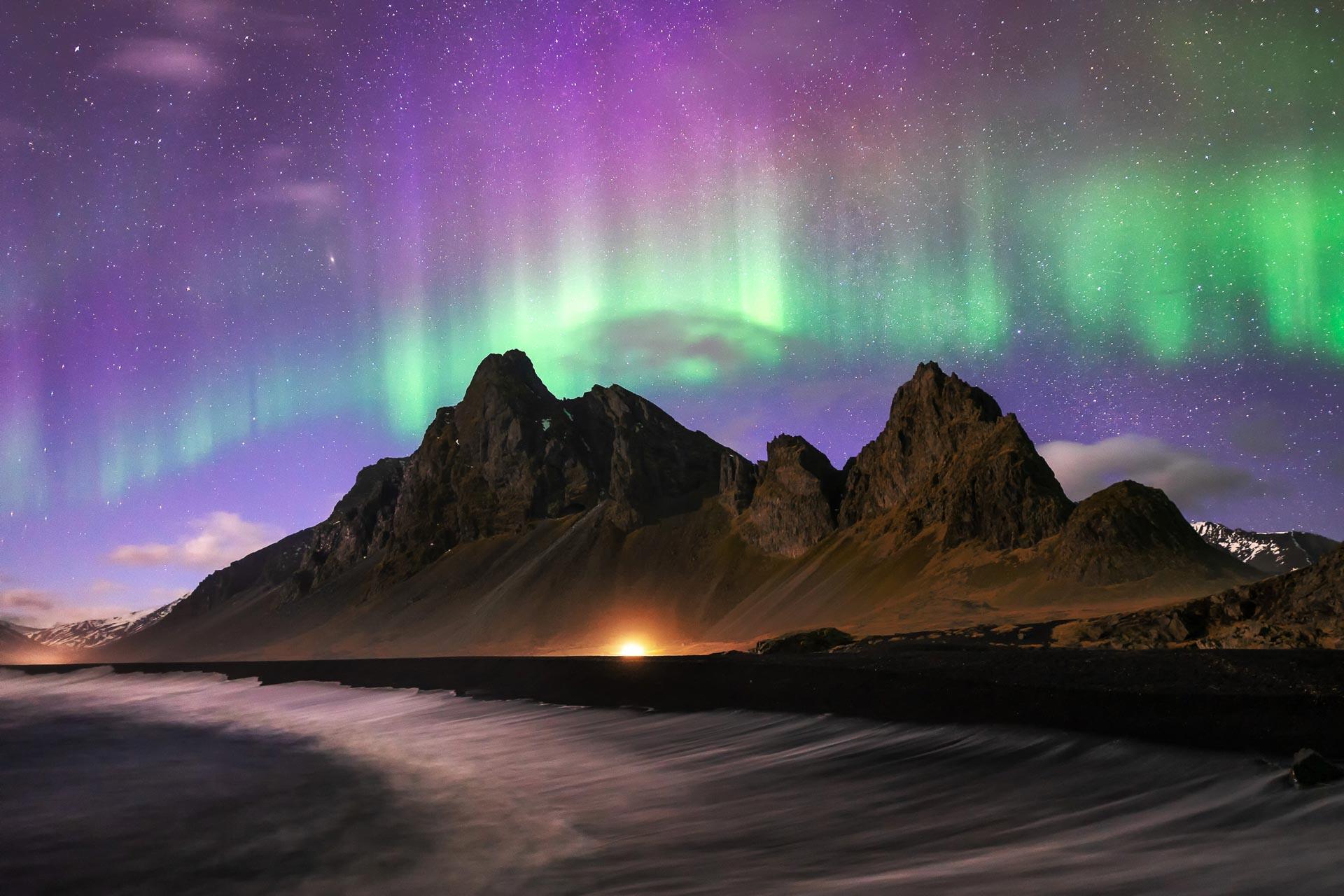 Northern Lights Eystrahorn Iceland Aurora Borealis KP6