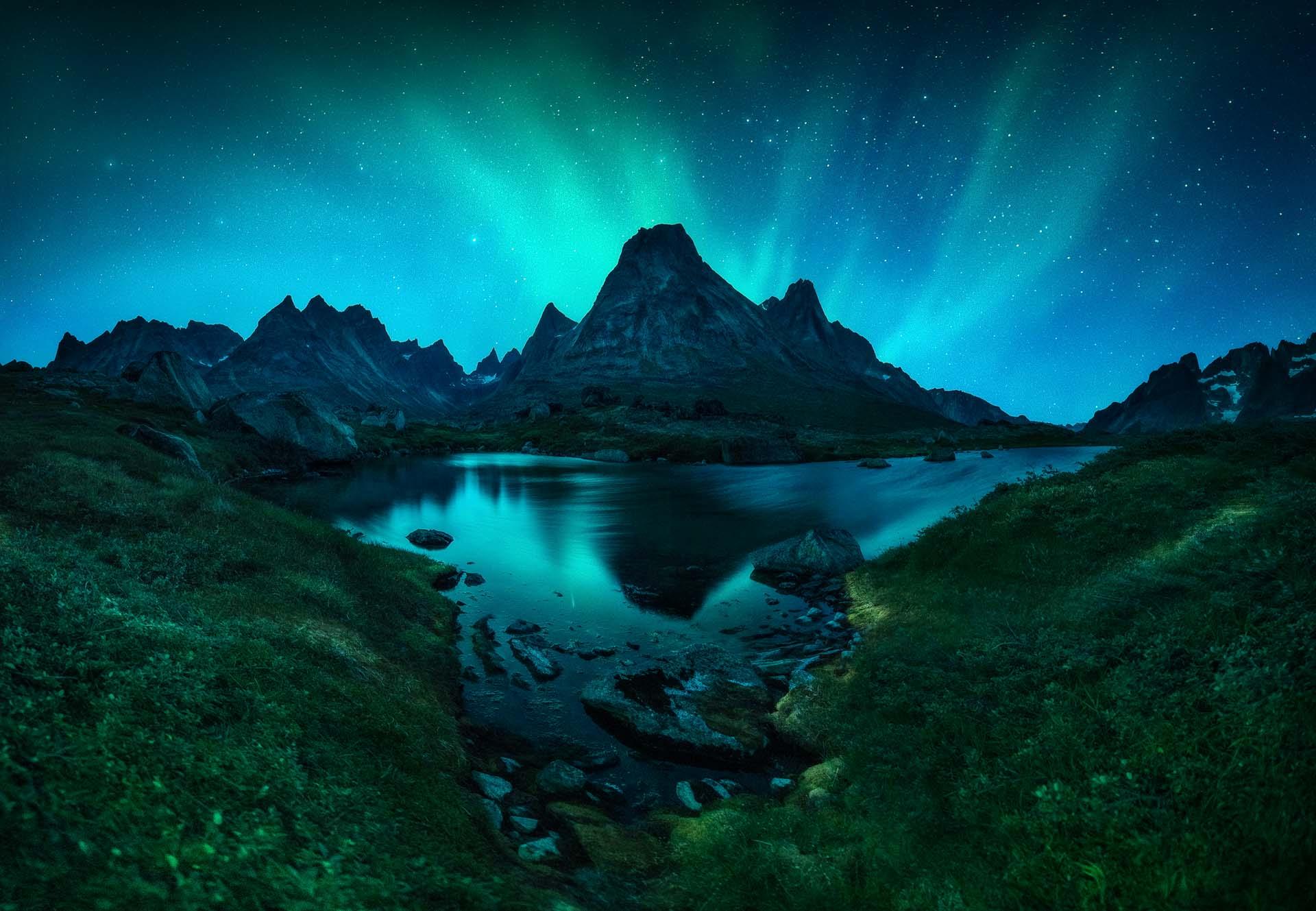 Northern Lights Greenland Aurora Borealis fjord