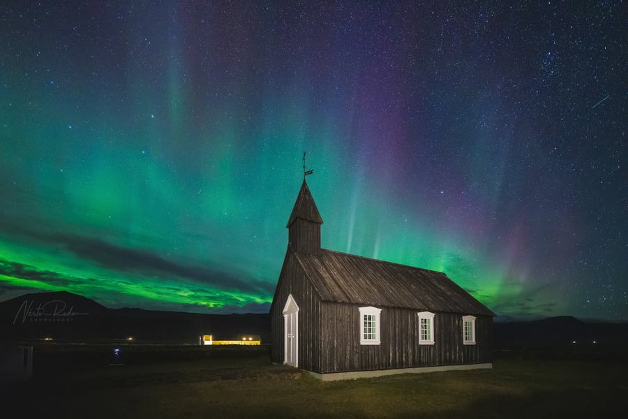 budir church black church northern lights iceland