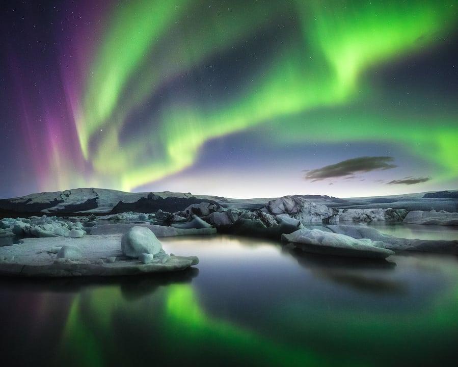 aurora boreal en islandia jokulsarlon laguna glaciar
