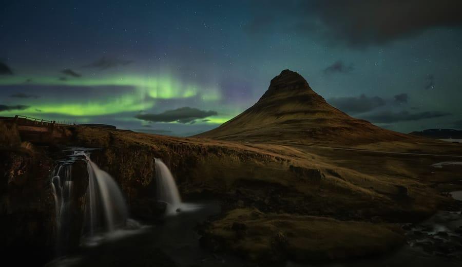 Aurora Borealis Kirkjufell, Snæfellness peninsula, Iceland