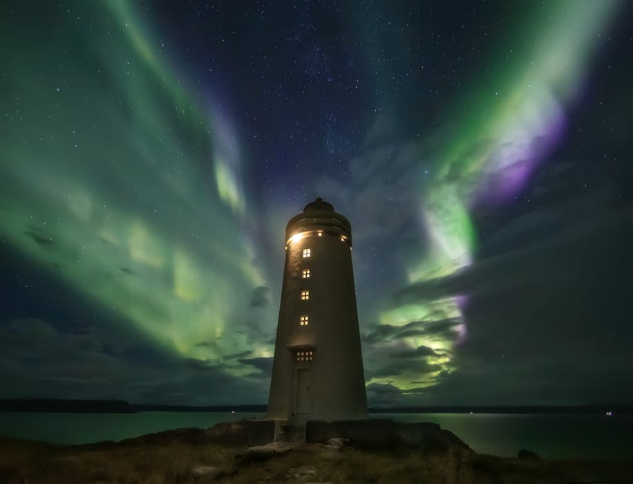 lighthouse best places to see northern lights in iceland