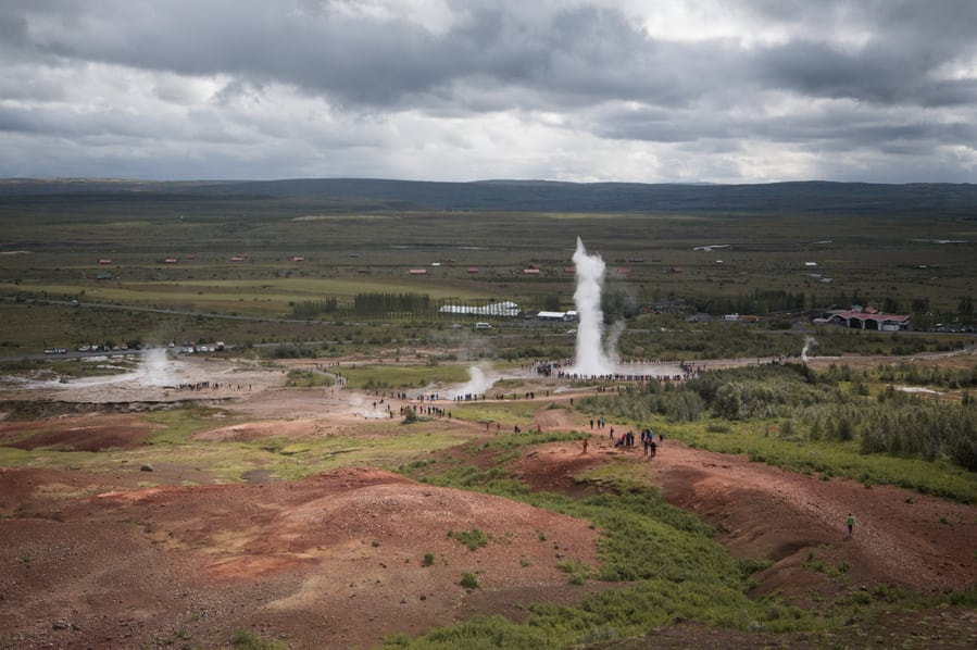 Haukadalur valley, geysir and strokkur iceland