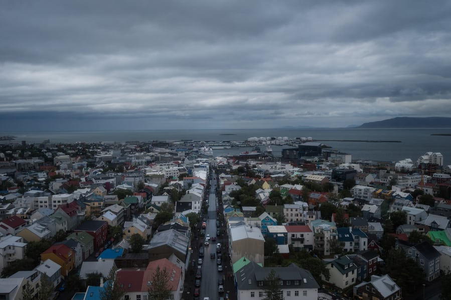 view form the Hallgrimskirkja church tower landmarks in iceland reykjavik