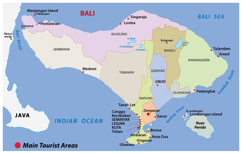 7 Bali Maps - Bali on a map, by regions, tourist map and more