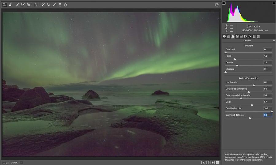 Parámetros reducir el ruido en Adobe Camera Raw